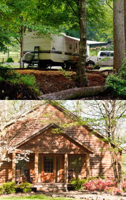 Picture of a camper at a campground and a luxury cabin in Townsend, TN.