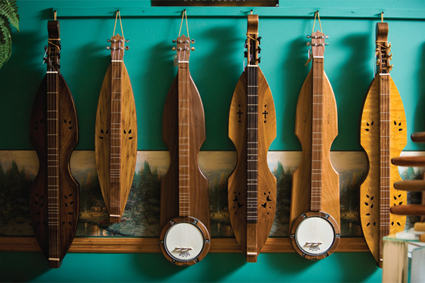 Dulcimers on a wall in Townsend, TN.