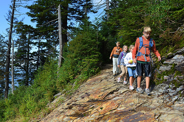 Family of hikers on trail in Townsend